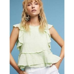 Anthropologie Maeve pale green cascade blouse